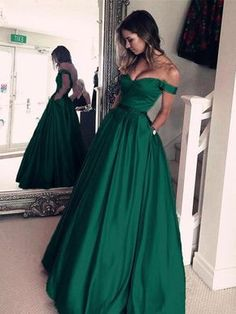 Affordable Emerald Green Off The Shoulder A line Simple Satin Custom Long Evening Prom Dresses, 17387