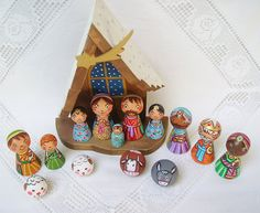 Christmas nativity set Holy Family Three Kings by UnderAngelWings