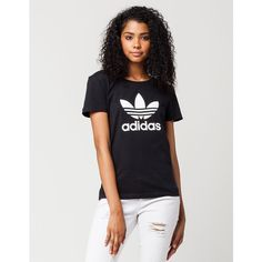 Adidas Fitted Trefoil Womens Tee ($30) ❤ liked on Polyvore featuring tops, t-shirts, crewneck tee, cotton tee, cotton crew neck t shirts, adidas tee and adidas t shirt