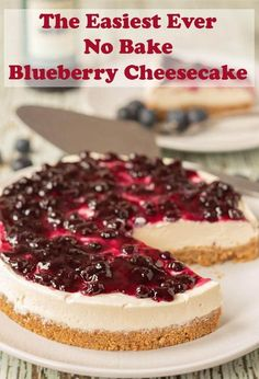 The easiest ever no bake blueberry cheesecake is the only blueberry cheesecake you will ever need. This is as quick and easy as cheesecake recipes get. No matter what the season is this cheesecake is perfect for all occasions! #neilshealthymeals #recipe #dessert #cheesecake #nobake #nobakecheesecake #blueberry #blueberrycheesecake Cheesecake Aux Snickers, Raspberry Cheesecake Bars, Chocolate Chip Cookie Cheesecake, No Bake Blueberry Cheesecake, Easy No Bake Cheesecake, Low Carb Cheesecake Recipe, Best Cheesecake, Homemade Cheesecake, Cheesecake Desserts