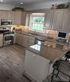10 Layouts Perfect for Your Little Cooking area  #kitchenfaucets#kitchentable#kitchenplayset#kitchenknife#kitchenshelves Grey Kitchens, Kitchens With Gray Cabinets, Cream Cabinets, Home Kitchens, Kitchen Makeovers, Kitchen Upgrades, Kitchen Redo, Kitchen Remodel, Kitchen Design