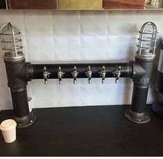 Custom Tap Industrial Style Black Iron Draft Beer Wine Tower Edison Cage Lights Tapped Beer