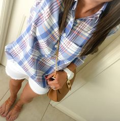 #thenortheastgirl | Ivory Blouse + Plaid Popover