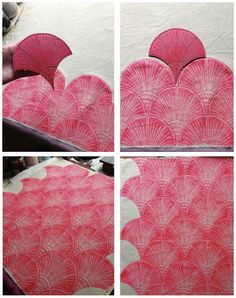 Paravent: Printing frenzy : Lino cut fans - consider shape of lino-cut for repetition Diy Stamps, Linocut Prints, Art Prints, Stamp Carving, Linoprint, Tampons, Gravure, Repeating Patterns, Fabric Painting