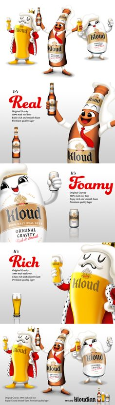 Character design for KLOUD. Overall product and brand strategy, brand identity design, visual style, bottle design, packaging and brand naming also done by STONE. stonebc.com        #design #creative #graphics #brand #branding #marketing #social #project #identity #illustration #management #agency #style #business #card #media #production #animation #placebranding #food #packaging #stone #typography #character #designer #beer #kloud
