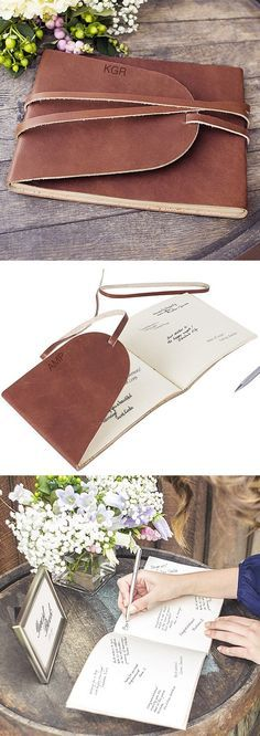 Loved this leather journal guest book. Perfect to keep later. | mysweetengagement.com