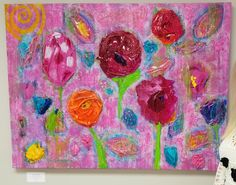 "Unusual Original Abstract 3-D Acrylic Signed Painting ""Spring Surprise!"" 30""x40"" by CoolCatCollection on Etsy"