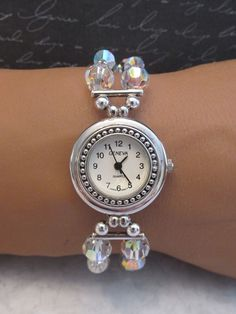 Sterling Silver Swarovski Crystal Beaded Bracelet Style Watch Handcrafted #bridal #wedding #crystalwatch