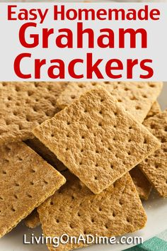 Easy Homemade Graham Crackers Recipe - Living on a Dime To Grow Rich - - This easy graham crackers recipe makes tasty homemade graham crackers at home! Fresh an tasty and you can easily make them without going to the store! Homemade Graham Cracker Crust, Graham Cracker Recipes, Homemade Crackers, Easy Homemade Snacks, Graham Cracker Cookies, Homemade Recipe, Homemade Vanilla, Deep Dish, Homemade Cheesecake