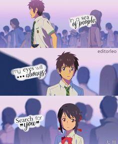 kimi no na wa. Sad Anime Quotes, Manga Quotes, Your Name Quotes, Love Quotes, Kimi No Na Wa Wallpaper, Your Name Anime, Romance Quotes, Anime People, Anime Love