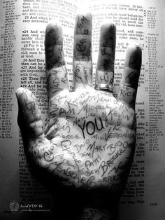 Isaiah 49:16.    See, I have written your name on the palm of my hand.    Sevenapples Christian Art