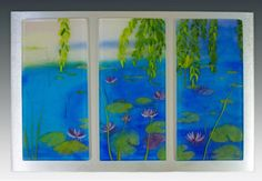 """""""Lily Pad Triptych"""" -- Fused glass panels"""