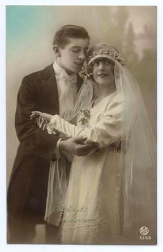Bride and groom, c. 1920.