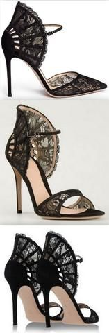 Black Lace Fan Counter Dorsay Pumps