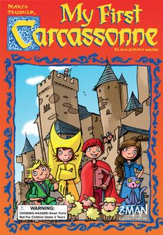 Story: On 14 July, the national holiday in France, the sheep, chickens and cows are set free in the town of Carcassonne. The children have great fun to catch the animals before dusk.  The players in turn draw a landscape tile and place it; unlike in normal Carcassonne, they always match. Amongst other features, the tiles show children in the player colors on the roads. Whenever a road is finished, every player places one of his meeples on each appropriate picture.  The first player who…