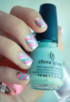 Pink, Blue & Silver Braided Nails Tutorial by Pshiiit | Beauty Tips N Tricks