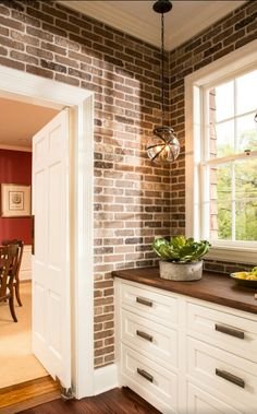 exposed brick kitchen backsplash | kitchens!! | pinterest