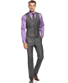 Kenneth Cole Reaction Suit, Grey Heather Vested Slim Fit - Change the purple to blue wedding sweepstakes Purple Groomsmen, Purple Vests, Bridesmaids And Groomsmen, Groom And Groomsmen, Purple Ties, Groom Tuxedo, Groom Suits, Purple Gray, Tuxedo Wedding