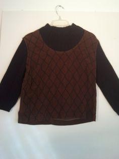 70s knit sweater art nouveau deco argyle renaissance punk velvet hippie embroidered jumper pullover 44 46 L XL