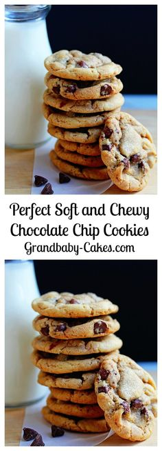 Perfect Soft and Chewy Chocolate Chip Cookies Recipe | http://Grandbaby-Cakes.com
