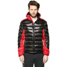 EA7 EMPORIO ARMANI Extreme Shiny Nylon Down Jacket ($675) ❤ liked on Polyvore featuring men's fashion, men's clothing, men's outerwear, men's jackets, black, mens water resistant jacket, mens nylon jacket and mens short sleeve jacket
