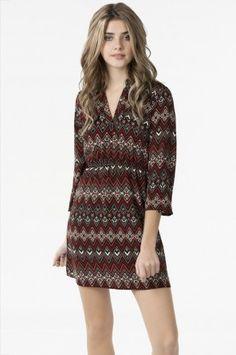 Red chevron tunic dress