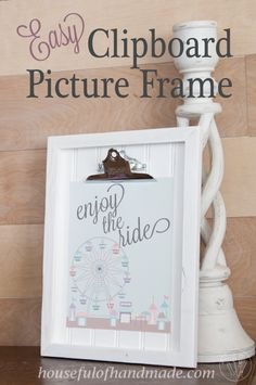 DIY Clipboard Picture Frame with Beadboard - Houseful of Handmade Picture Frame Crafts, Picture Frames, Scrap Wood Crafts, Diy Crafts, Creative Crafts, Easy Woodworking Projects, Diy Projects, Woodworking Books, Project Ideas