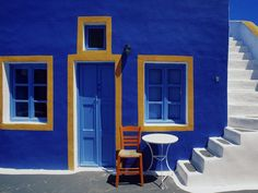 Santorini steps, beautiful, blue, chair, door, Greece, greek, house ...1600 x 1200 | 366.2 KB | www.free-hdwallpapers.com