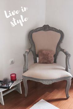 Antique French chair painted and upholstered.