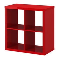 IKEA - KALLAX, Shelving unit, high gloss red, , A simple unit can be enough storage for a limited space or the foundation for a larger storage solution if your needs change.Choose whether you want to hang it on the wall or stand it on the floor. Ikea Regal Expedit, Ikea Kallax Shelving, Kallax Shelving Unit, Kallax Regal, Vinyl Record Shelf, Red Bookcase, Lp Storage, Record Storage, Apartment Makeover