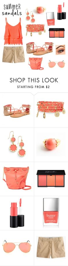 """Love at first sight"" by cannotfindausernamexoxoxo9 ❤ liked on Polyvore featuring Emily & Ashley, Kate Spade, Avon, Deux Lux, MAC Cosmetics, Butter London, J.Crew, Glamorous and summersandals"