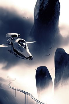 Great image that captures the minimalist design of an Executive's Sledskipper perfectly. This is what Morgan turns up to Jones' hut in... ----- SPARTH - spaceships. 2009