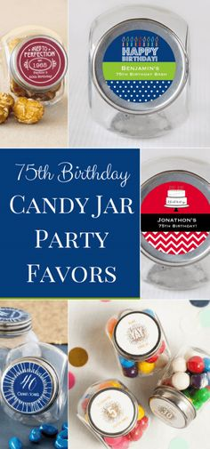 75th Birthday Candy Jar Party Favors 2 80th Adult