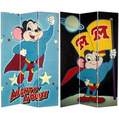 "71"" x 47.25"" Tall Double Sided Mighty Mouse 3 Panel Room Divider"
