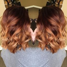 Red copper ombre ✂️                                                       …