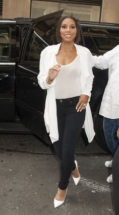 Tamar Braxton's street style is pretty, sleek and chic!