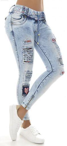 61de511051 Jeans levanta cola wow 86141 Jeans Rasgados Mujer, Pantalones Femeninos,  Pantalones De Mezclilla,