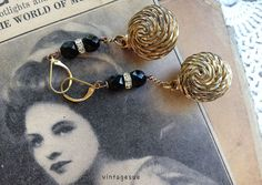holiday drops upcycled dangle earrings reclaimed vintage by Arey