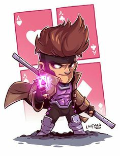 Derek Laufman - Marvel X-Men Gambit Marvel Comics, Chibi Marvel, Marvel Vs, Marvel Heroes, Gambit Marvel, Flash Comics, Character Drawing, Comic Character, Xmen