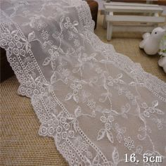 1yd off white embroidery floral lace fabric trim wedding sewing dress doll L1338