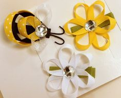 Bumble Bee And Daisy Flower Hair Clippies Set/HandMade Hair Accessories $5.99