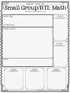 Free Math Small Group Lesson Plan (general edition)