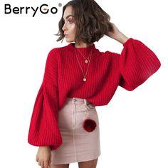 BerryGo Elegant black vintage knitted sweater Women casual long lantern sleeve  jumper pullover Autumn winter loose grey sweater fd1a00c30