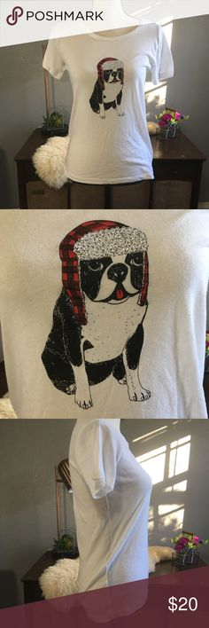French bulldog j Crew collector tee Christmas Super cute novelty print tee from j.Crew factory  size XS fits like small. Made of 60% cotton 40% polyester. Free of stains tears and holes. J. Crew Factory Tops Tees - Short Sleeve