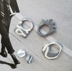 Grey Plastic Rings with white lines and Earrings
