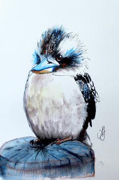 Baby Kookaburra - Watercolour and ink - x - SOLD Bird Drawings, Colorful Drawings, Animal Drawings, Cute Drawings, Watercolor Animals, Watercolor And Ink, Watercolor Paintings, Bird Artwork, Artwork Ideas