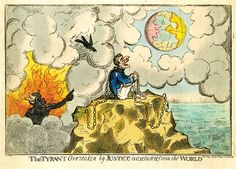 The Tyrant Overtaken by Justice is excluded from the World. A caricature of Napoleon in imitation of Cruikshank, 1814