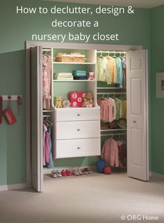 Are you wondering how you're going to fit all those baby clothes and supplies into your small reach in closet? Click through to learn strategies to declutter, design and decorate a nursery closet.