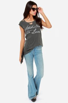Chaser Love Child Distressed Black Tee at LuLus.com!