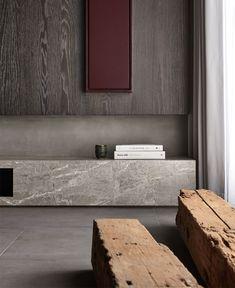 Amazingly Stylish Apartment Combine Asian Minimalism and European Design Living Tv, Living Spaces, Living Room, Minimalist Interior, Minimalist Home, Home Design Decor, House Design, Home Decoration, Magazine Deco